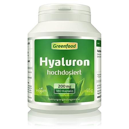 Greenfood Hyaluronsäure, 200mg, hochdosiert, 180 Kapseln, vegan