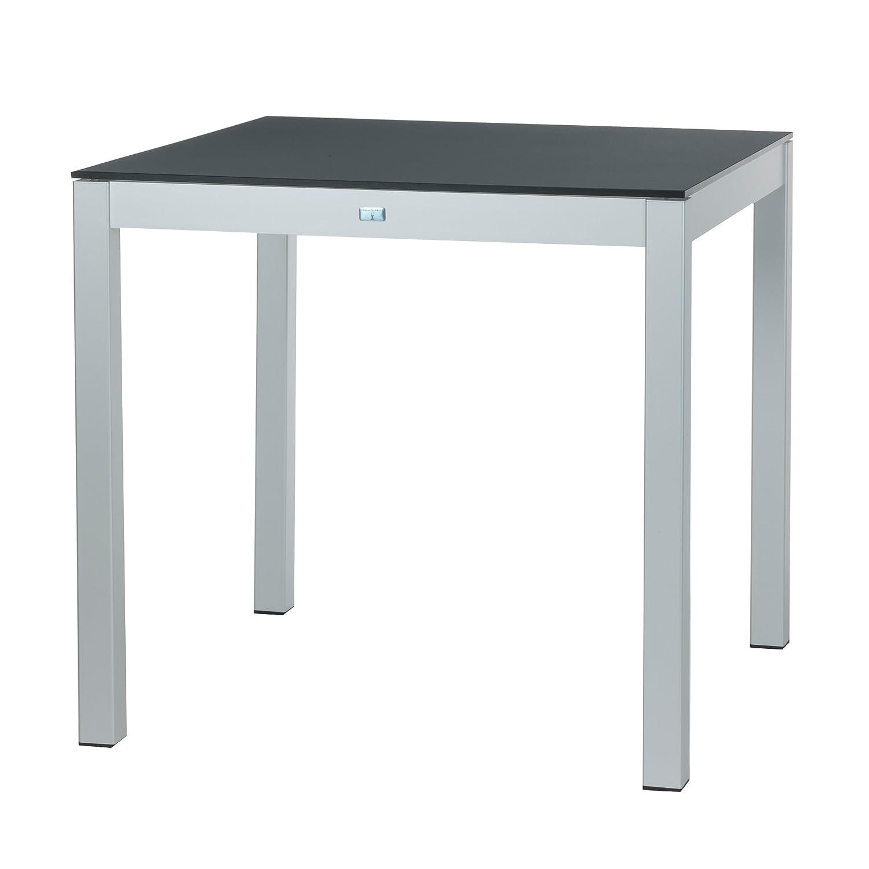 Quadrat Tisch - Gestell alufarben, Platte HPL weiß/anthrazit / 80 x 80 cm, h 76 cm