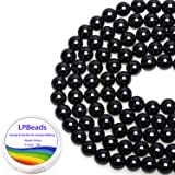 LPBeads 100PCS 8mm Natural Black Obsidian Beads Gemstone Round Loose Beads for Jewelry Making with Crystal Stretch Cord (Color: Obsidian)