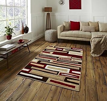 tapis de salon moderne matrix beige rouge 120 x 170. Black Bedroom Furniture Sets. Home Design Ideas