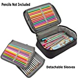ITODA 72 Slots Pencil Case Bag with Removable 2 Tray, Large Capacity Handy Zipper Stationery Pouch for Gel Pen, Watercolor Pens and Makeup Brushes (Color: Black, Tamaño: One Size)