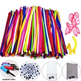 Y wang Magic Balloons Kits, 300Pack Animal Balloons Latex Modeling Twisting Balloons Long Balloons for Animal Shape Party, Clowns, Wedding Decoration(with Pump& Eye Sticker&Wiggle Eyes) (Tamaño: 300pack)