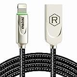 rnairni iPhone USB Charger Smart LED Auto Disconnect Charge Cable - 6FT/1.8M Length Nylon Braided Charge Compatible iPhone X iPhone 8 7/7 Plus 6/6 Plus 6s/6s Plus 5s iPad Mini iPod (Tamaño: 6 feet)