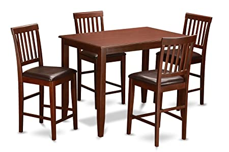 East West Furniture BUVN5-MAH-LC 5-Piece Counter Height Dining Table Set, Mahogany Finish
