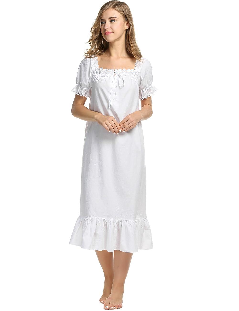 Avidlove Womens Cotton Victorian Vintage Short Sleeve Nightgown Sleepwear 0