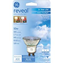 GE Lighting 82143 50-Watt Reveal with Halogen Floodlight GU10 1CD Light Bulb