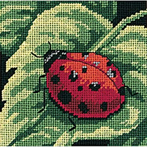 Dimensions Needlepoint Kit, Ladybug and Leaf Needlepoint, 5'' W x 5'' H (Color: 5x5 Stitched In Thread)