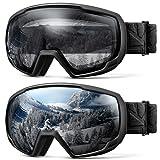 OutdoorMaster Kids OTG Ski Goggles - 2-Pack Over Glasses Kids Ski Goggles, 100% 400UV Protection - for Kids & Youth - Black/Grey (VLT 10%) + Black/Clear (VLT 99%) (Color: Black/Grey (VLT 10%) + Black/Clear (VLT 99%))