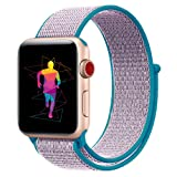 INTENY Sport Band Compatible for Apple Watch 42mm, Breathable Nylon Sport Loop Replacement Strap Compatible for iWatch Series 3, Series 2, Series 1, Hermes, Nike+, Edition (Lanveder, 42mm) (Color: Lavender, Tamaño: 42 mm)
