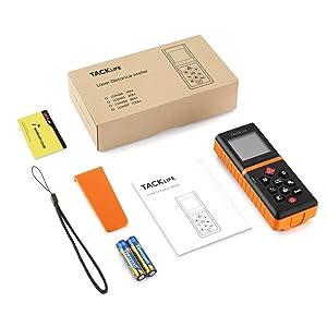 Tacklife Advanced Laser Measure 196 Ft Digital Laser Tape Measure with Mute Function Laser Measuring Device with Pythagorean Mode, Measure Distance, Area and Volume Black&Orange (Color: Black&Orange, Tamaño: LDM05)