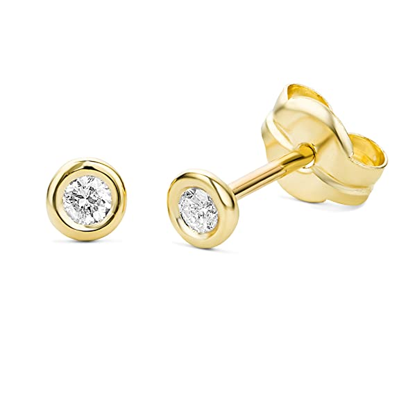 Miore Women's 9 ct Gold 0.10 ct Solitaire Diamond Stud Earrings Brilliant Cut