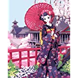 ABEUTY DIY Paint by Numbers for Adults Beginner - Kimono Beauty Under Cherry Blossoms 16x20 inches Number Painting Anti Stress Toys (No Frame) (Color: Blossoms, Tamaño: No Frame)