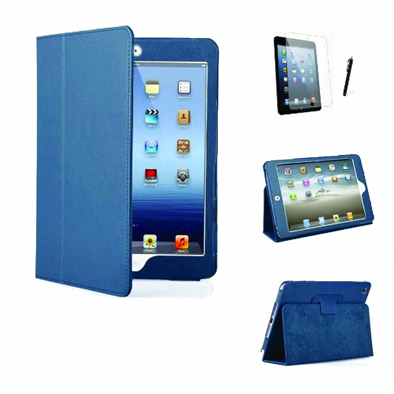 Blue Executive PU Leather Multi Function Standby Case for iPad Mini