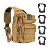 Weanas Tactical Sling Bag Pack, Military Shoulder Sling Backpack with 4 Tactical D-Ring Clips (Coyote) (Color: Coyote)