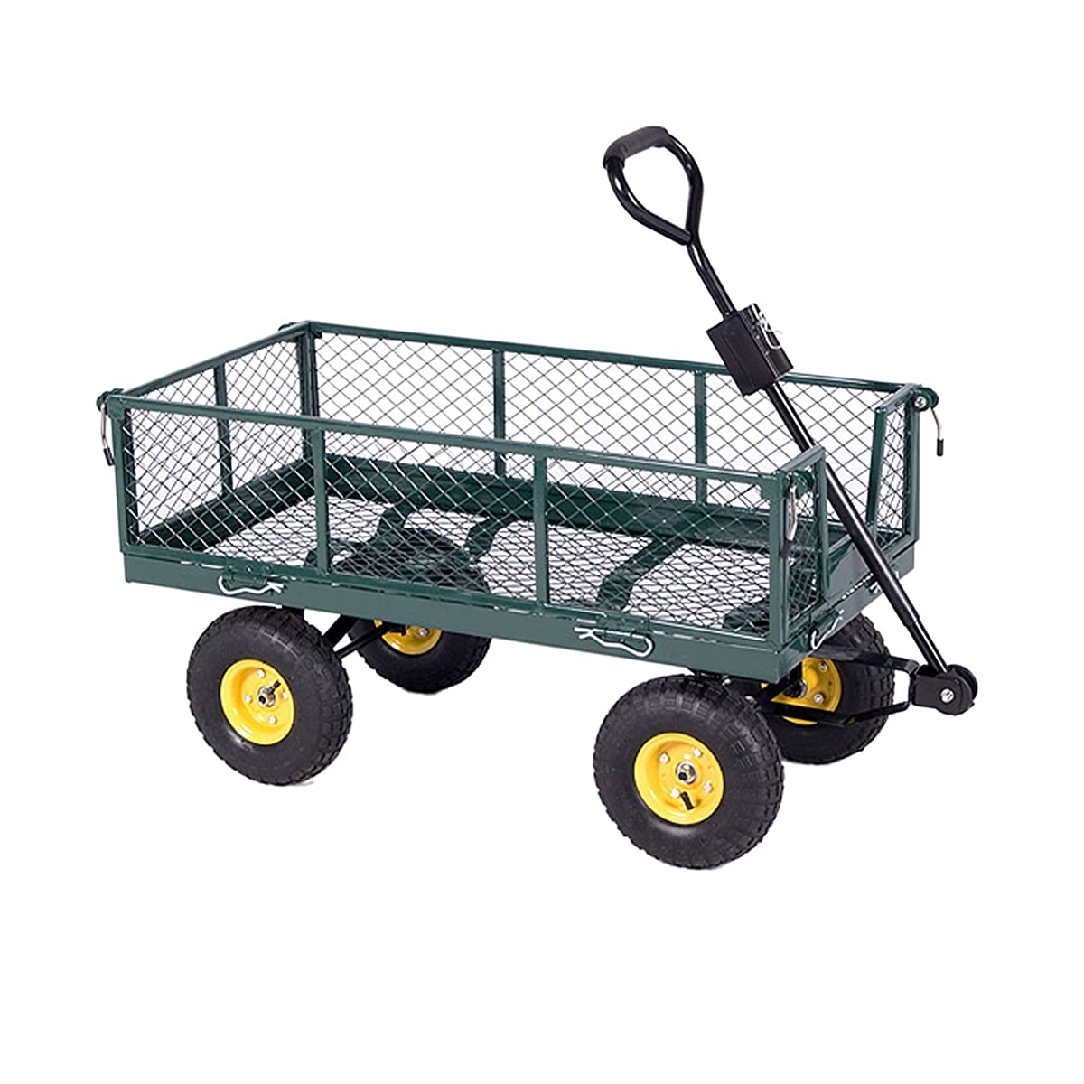 ALEKO TC4206 Farm & Ranch, Heavy Duty Removable Steel Mesh Sides Flatbed Garden Mesh Cart With Padded Pull Handle, 800 lb Capacity