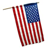 G128 - 5 Feet Tangle Free Spinning Aluminum Flagpole (White) with American Flag with Pole Sleeve 210D Oxford Polyester Embroidered 2.5x4 ft American Flag with Pole Sleeve (Flag Included) Flag Pole