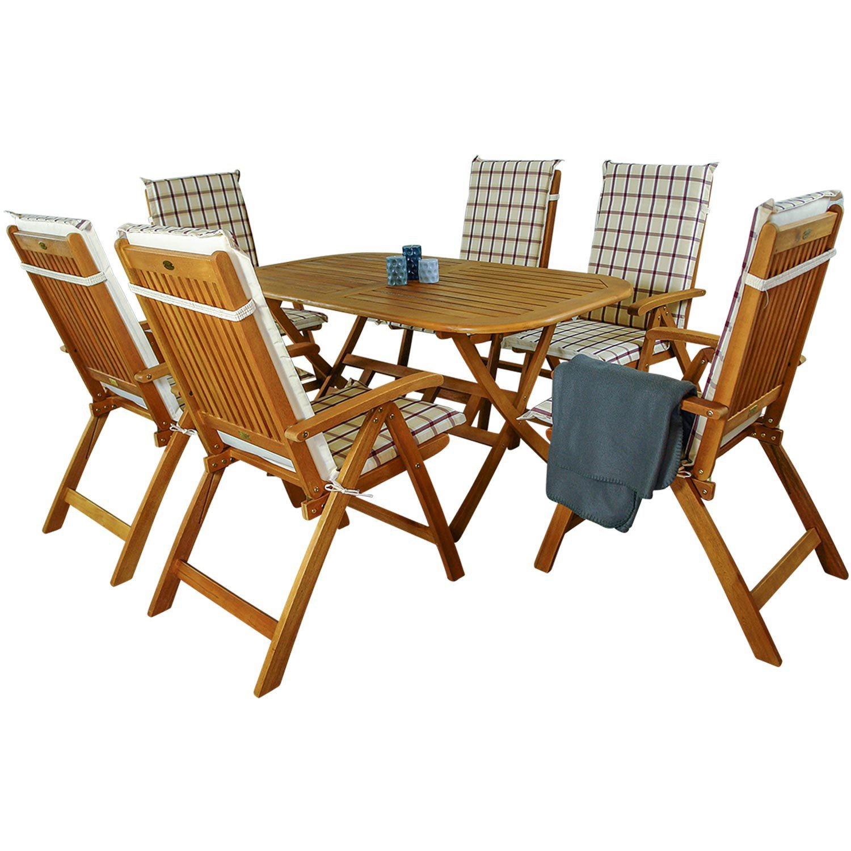indoba® IND-70064-BASE7 + IND-70409-AUHL - Serie Bangor - Gartenmöbel Set 13-teilig aus Holz FSC zertifiziert - 6 klappbare Gartenstühle + klappbarer Gartentisch + 6 Comfort Auflagen Karo Weinrot