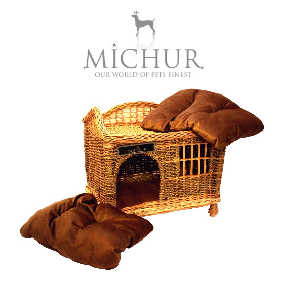Willow wicker cat dog house bed Cognac  (60x40x50cm) incl. pillows