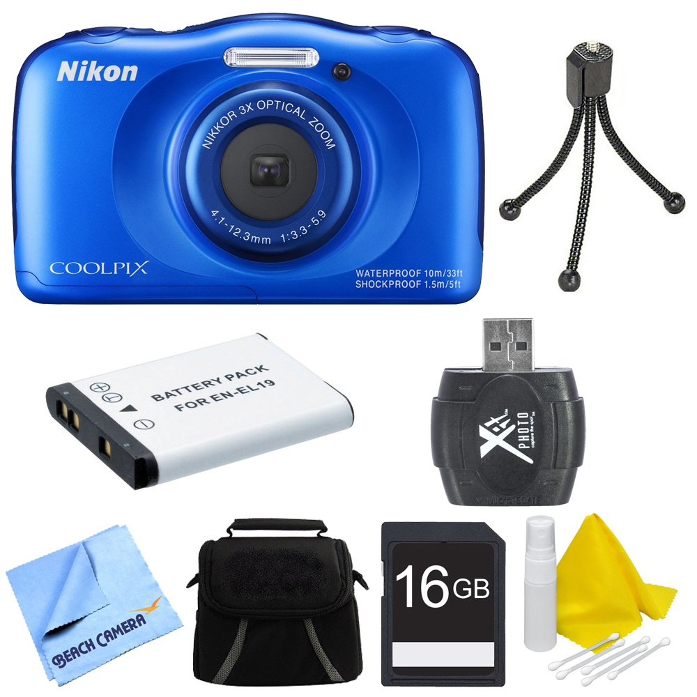 Nikon COOLPIX S33 13.2MP Waterproof Shockproof Digital Camera Blue Deluxe 16GB Bundle