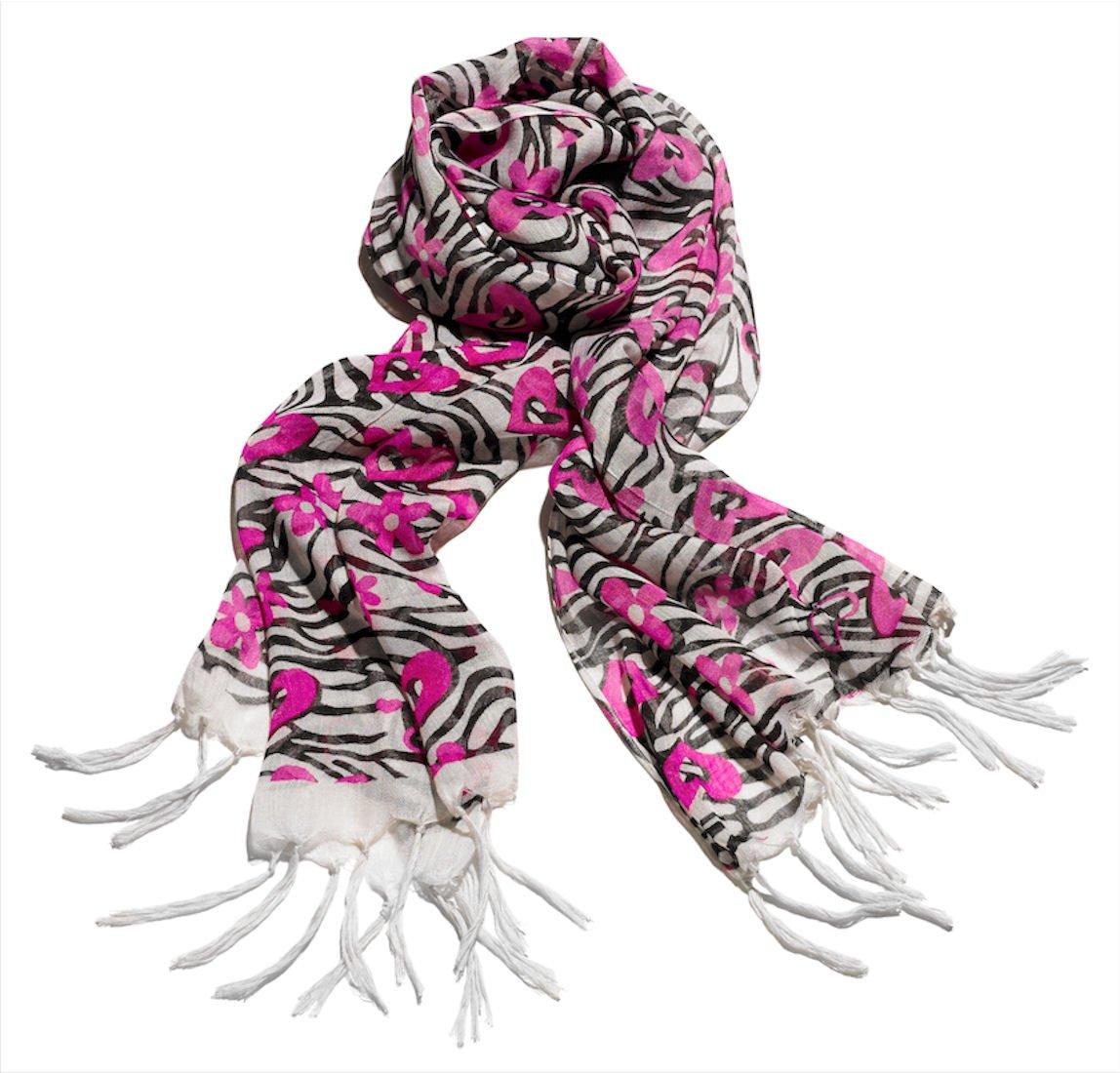 Girls Zebra and Fuchsia Hearts Scarf