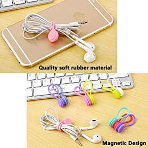 Lavince Magnetic Earphone Winder, 8PCS Magnetic Cord Winder Wrap for Headphones/Date USB Cable,Soft Silicone Earphone Cable Cord Organizer for iPhone/