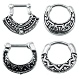 4Pcs Vintage 316 Stainless Steel Septum Clicker Nose Rings 16g Bar Septum Nose Piercing Jewelry