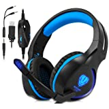 Xbox One, PS4 Gaming Headset , Headphones with Mic and LED Light for Laptop Computer,Stereo Gamer Headphones,3.5mm Wired Noise Isolation Gaming Headphones (Blue) (Color: Blue)