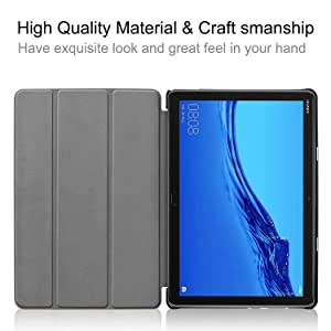 Huawei MediaPad M5 Lite 10 Case - Ultra Slim Tri-Fold Leather Smart-Shell Stand Cover with Auto Wake/Sleep for Huawei MediaPad M5 Lite 10 Inch (Blue) (Color: Blue)