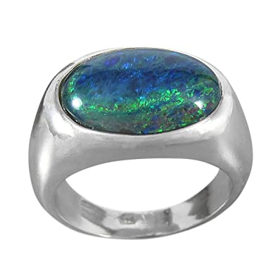 Schmuck-Art Michel Women's Ring 925 Silver With Opal Triplet 16x12 mm Size 53 - 65 Choice (9227)