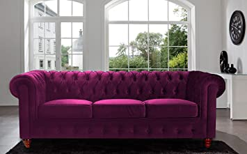 Classic Velvet Scroll Arm Tufted Button Chesterfield Style Sofa - Black, Red, Grey, Purple (Purple)