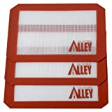 SILICONE ALLEY, 3 Non-Stick Silicone Mat Pad, Small Rectangle 5 X 4 Inch, Red (Color: Red)
