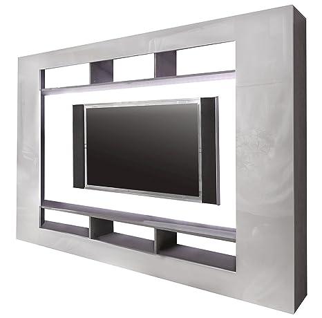 Maisonnerie 1547-895-35 Meuble TV Armoire Speed Blanc Ultrabrillant / interior Béton Optique LxHxP 216x160x30 cm
