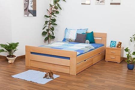 """Bett mit Stauraum """"Easy Sleep"""" K6 inkl. 2 Schubladen und 1 Abdeckblende, 140 x 200 cm Buche Vollholz massiv Natur"""