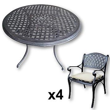 Lazy Susan Furniture - Lily 120 cm Round 4 Seater Cast Aluminium Garden Set - Antique Bronze (Kate chairs, Stone cushions)