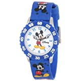 Disney Kids' W000232 Mickey Mouse Stainless Steel Time Teacher Watch with Blue Nylon Band (Color: White, Tamaño: NO SIZE)
