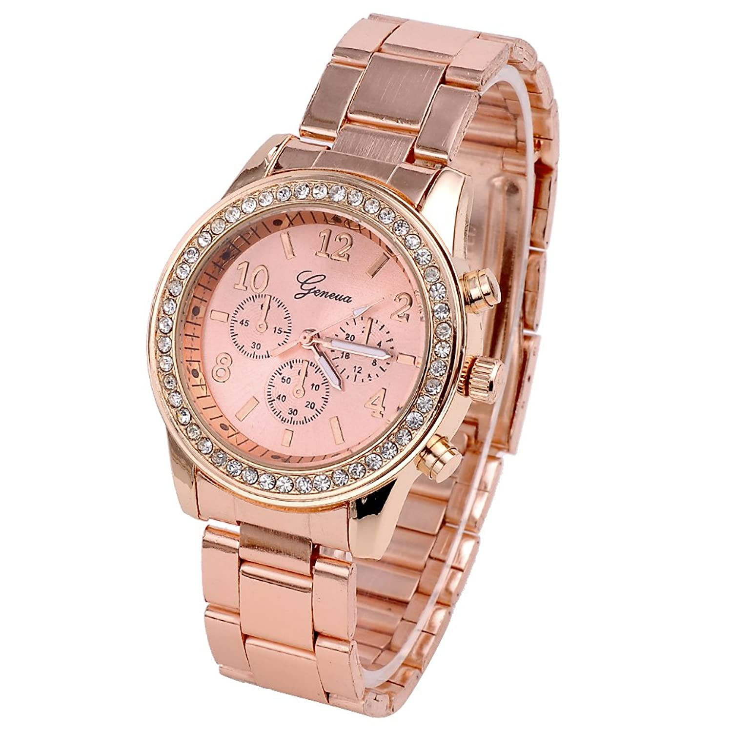 top-plaza-fashion-women-alloy-analog-crystal-watch-rose-gold-tone
