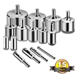 Glass Drill Bits - 15pcs Diamond Hole Saw Drill Bit for Glass, Ceramics, Porcelain, Ceramic Tile, Marble, Granite, 6-50mm Kit Set Hollow Core Extractor Remover Tool