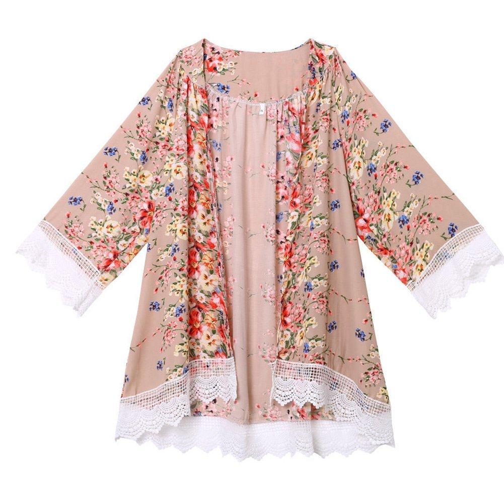 Froomer Women Vintage Floral Boho Shawl Kimono Cardigan Loose Chiffon Blouse 0