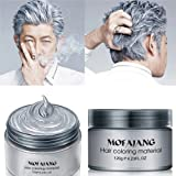 MOFAJANG Temporary Hair Coloring Wax Styling, Natural Color Wax Mud(4.23 oz), Multi Color to Choose, Suit for Parties, Cosplay, Club, Halloween, etc. (Color: Gray)