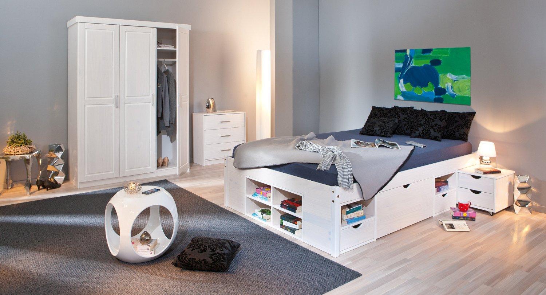 Schlafzimmer mit Bett 180 x 200 cm Kiefer massiv weiss lackiert online bestellen