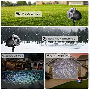 Night Light Projector for Kids, acetek Ocean Wave Projector Light with 3D Water Ripple Effect, Projector Lamp Undersea for Kids Living Room Bedroom Party Disco with Remote Control (Color: Multicolor)