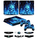WSD PS4 Slim Skins - Decals for PS4 Controller Playstation 4 Slim - Stickers Cover for PS4 Slim Controller Sony Playstation Four Slim Accessories with Dualshock 4 Two Controllers Skin - Blue Fire (Color: Blue Fire)