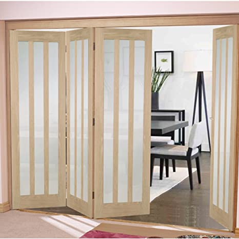 "Green Tree Doors Oak Aston Frosted Bifold System (610mm (24"") - 4 Doors)"