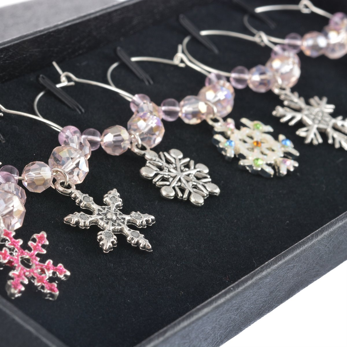 Christmas Snowflake Beaded Glass Wine Charms (Set of 6)