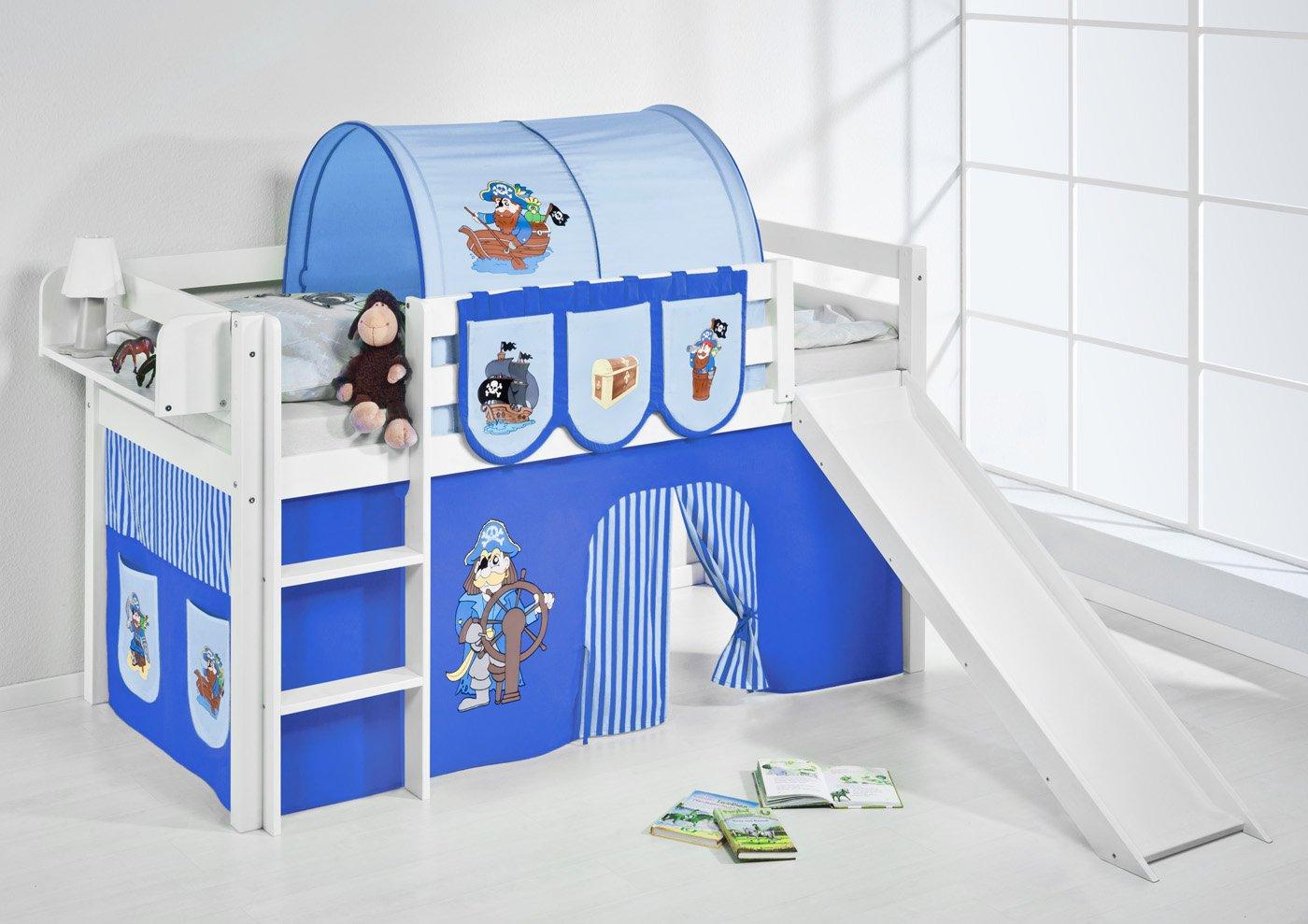 Spielbett JELLE Pirat Blau Lilokids Hochbett LILOKIDS weiß mit Rutsche und Vorhang Blau-Weiß Weiß kiefer günstig