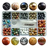 Chengmu 8mm Stone Beads Kit for Jewelry Making 230pcs Natural Gemstone Agate White Howlite Black Lava Hematite Assorted Color Round Loose Beads Set for Bracelet Necklace With Accessories Tools Color 3 (Color: 8mm Stone Beads kit Color 3, Tamaño: 8mm)