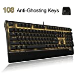 RK Mechanical Keyboard 108-Key Golden Backlit with Side Lights, Floating Design LED Gaming Keyboard, Anti-ghosting Wired Gamer Keyboard with Blue Switch - Black
