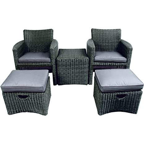 Poly Rattan Duo Set 5tlg taupe Stuhle Fußbänke Tisch Gartenmöbel Set