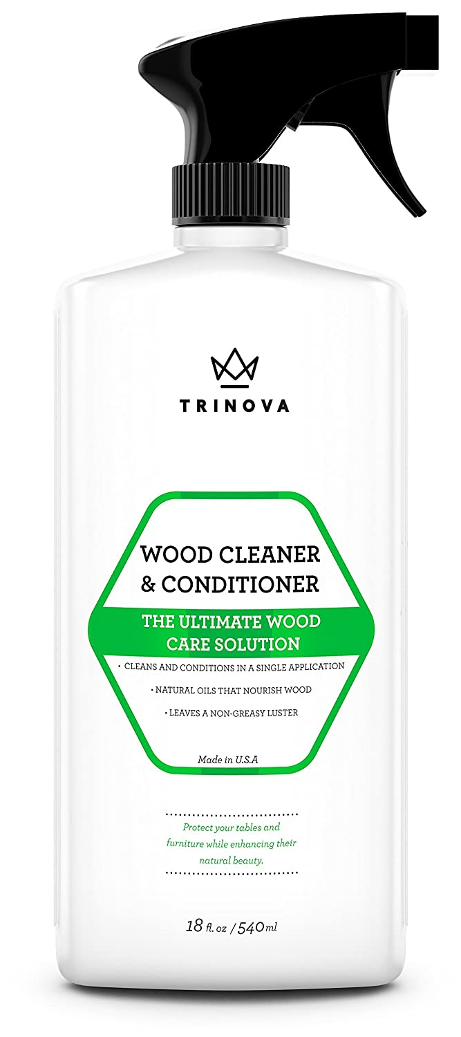 Wood Cleaner & Conditioner - Best for Hardwood Floors, Furniture, Cabinets & More - Removes Stains & Restores Shine - With Natural Wax & Oils - Works on Stained & Unfinished Surfaces - 18 OZ - TriNova