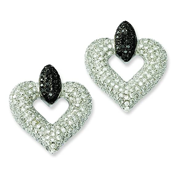 Sterling Silver and CZ Brilliant Embers Heart Post Earrings